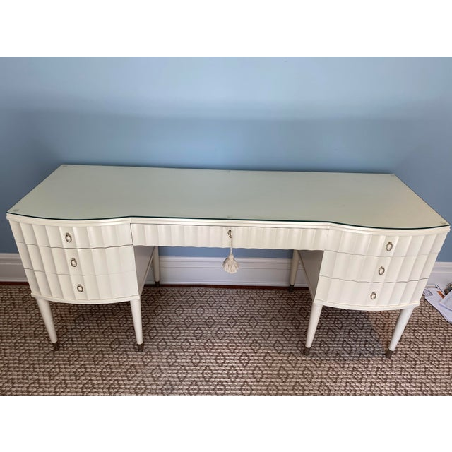 White Lacquer Barbara Barry Ladies Desk For Sale - Image 12 of 13