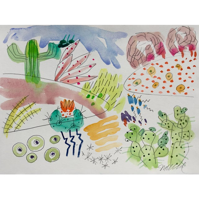 Abstract Cactus Garden Set of Three Watercolor Paintings For Sale - Image 3 of 5