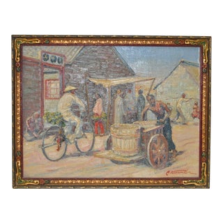 Vintage Chinese Village Oil Painting c.1940s