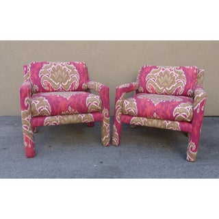 Pair of 1970's Parsons Chairs Covered in Ikat Fabric Preview