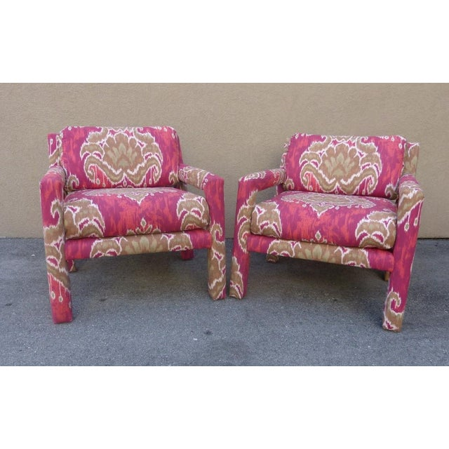 Two sumptuous 1970's Parsons Chairs covered with ikat fabric sold as found recently recovered ready to go.