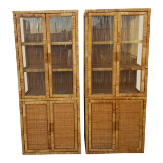 Vintage Woven Rattan Cabinets - A Pair