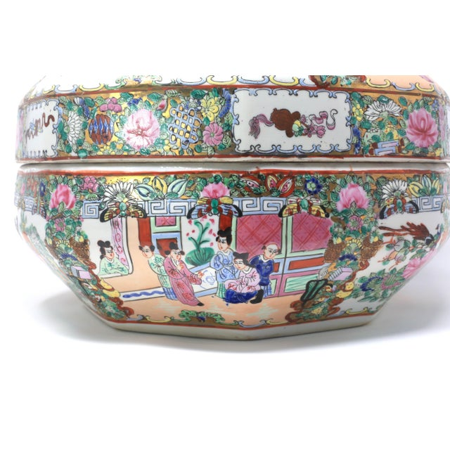 Vintage Asian Famille Rose Medallion Octagonal Treasure Bowl For Sale In Tampa - Image 6 of 12