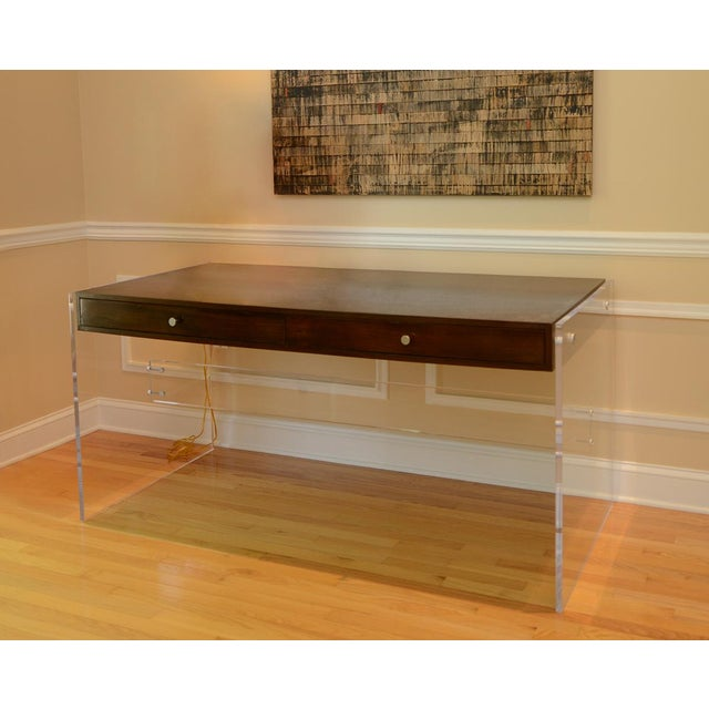 Wood Arthur Lucite Desk For Sale - Image 7 of 7