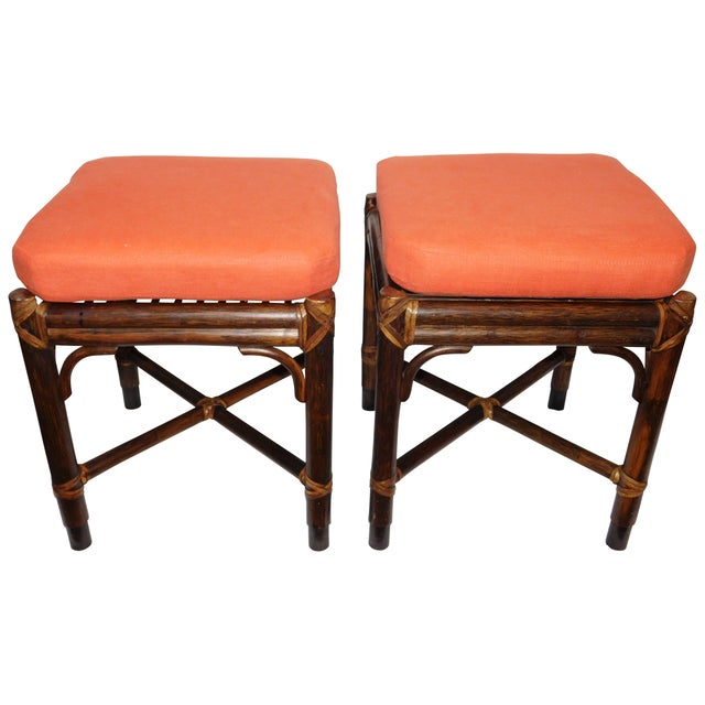 Vintage McGuire Rattan Benches - Pair - Image 1 of 10