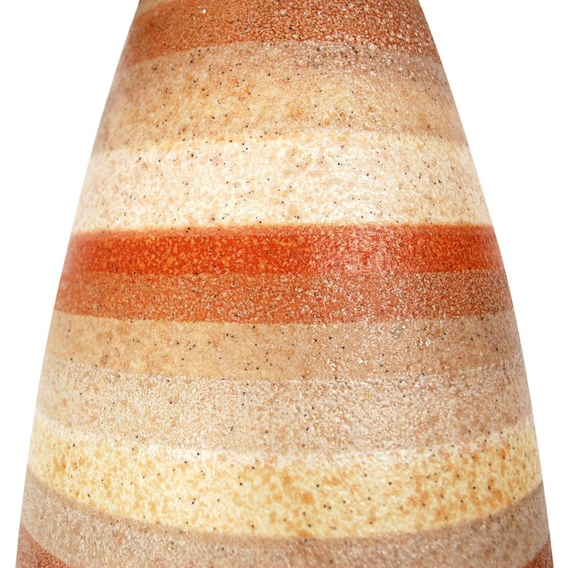 Large Mid-Century Striped Pottery Lamp - Image 8 of 9