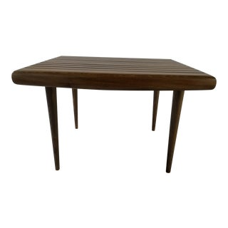 Mid Century Danish Modern Walnut Slat Accent Table For Sale