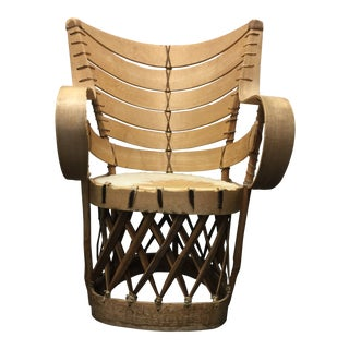 1950s Boho Chic Equipales Hide and Wood Chair For Sale