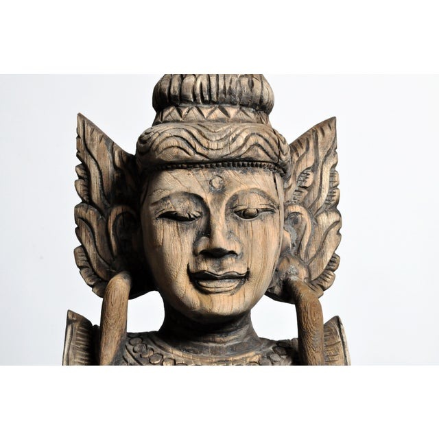 Teak Contemporary Hand-Carved Teak Wood Blessing Angel For Sale - Image 7 of 12