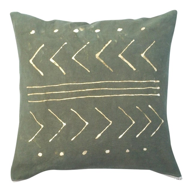 Hand-Dyed Dark Green Tribal Pillow Cover - Image 1 of 5