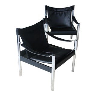 Mid Century Black Leather and Chrome Sling Chairs- A Pair For Sale