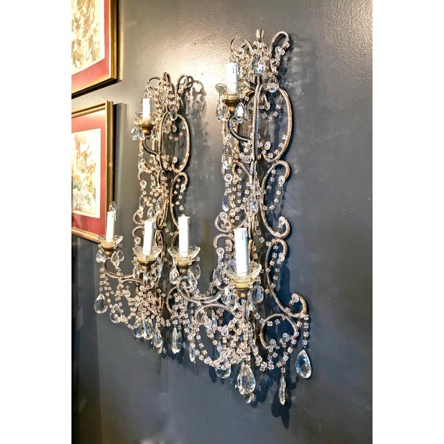 Mid 20th Century Pair Italian Beaded Sconces C. 1950s For Sale - Image 5 of 8