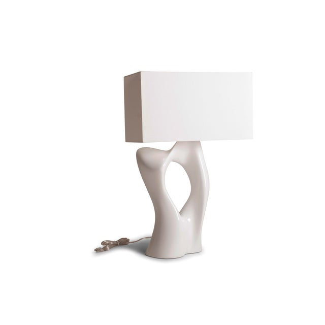 Contemporary Amorph Vesta White Lacquered Table Lamp For Sale - Image 3 of 10