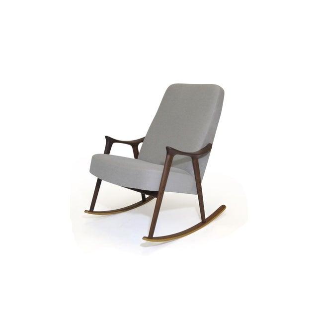 Scandinavian Highback Rocking Chair in Alpaca Mohair For Sale - Image 9 of 10
