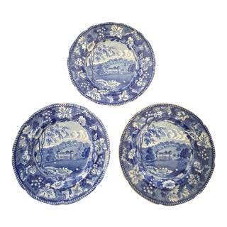 Staffordshire Blue and White Plates - Set of 3 For Sale