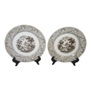 Mid 20th Century Brown Transferware Plates - a Pair For Sale