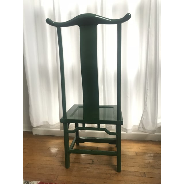Chinoiserie Ming Style Green Lacquered Chairs - a Pair For Sale - Image 4 of 10