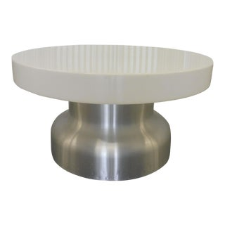 1970s Space Age Interior Lit Round Aluminum and Plastic Coffee Table For Sale