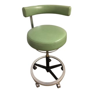 Green Adjustable Mid-Century Industrial Stool For Sale