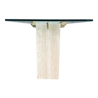 Artedi Beveled Glass & Brass-X Table For Sale