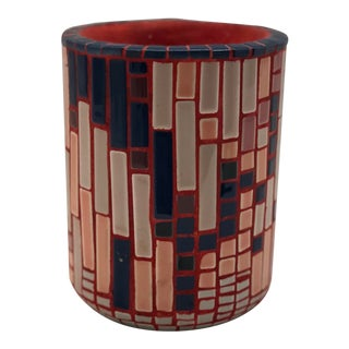 Colorful Mosaic Brush Pot by Artist E. Veglia For Sale