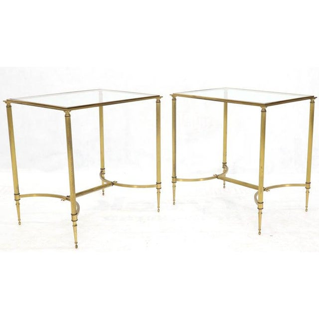 Pair of Solid Brass Glass Tops Stretcher Janson Style End Occasional Tables For Sale - Image 10 of 13