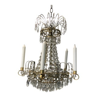 Vintage Swedish Traditional Electric & Candle Chandelier For Sale