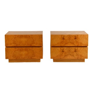 Minimalist Burl Wood Nightstands by Lane - a Pair For Sale