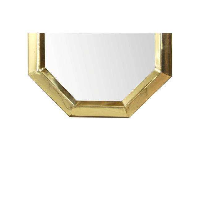 Mid 20th Century 1950s Octagonal Brass Frame Mirrors - a Pair For Sale - Image 5 of 8
