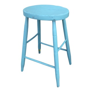 Early 20th Century Vintage Turquoise Stool For Sale