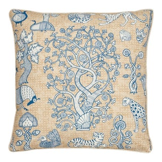 Boho Chic Schumacher Animalia Blue Natural Linen Two-Sided Pillow For Sale