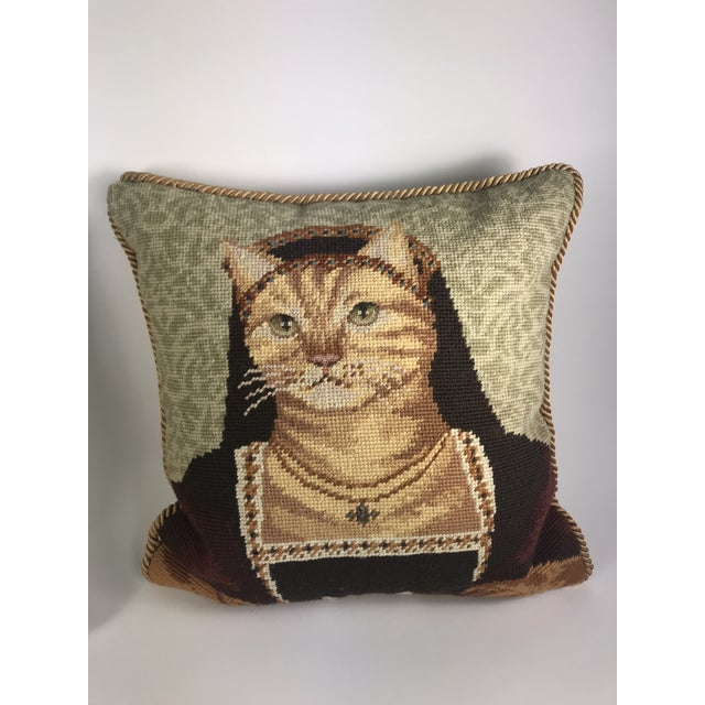 This is a quirky little pair of handmade needlepoint pillows featuring a royal pair of kitty cats in their royal medieval...