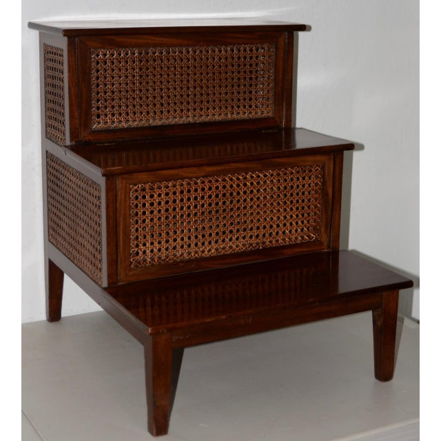 18th to 19th Century French Mahogany & Cane Steps For Sale - Image 4 of 9