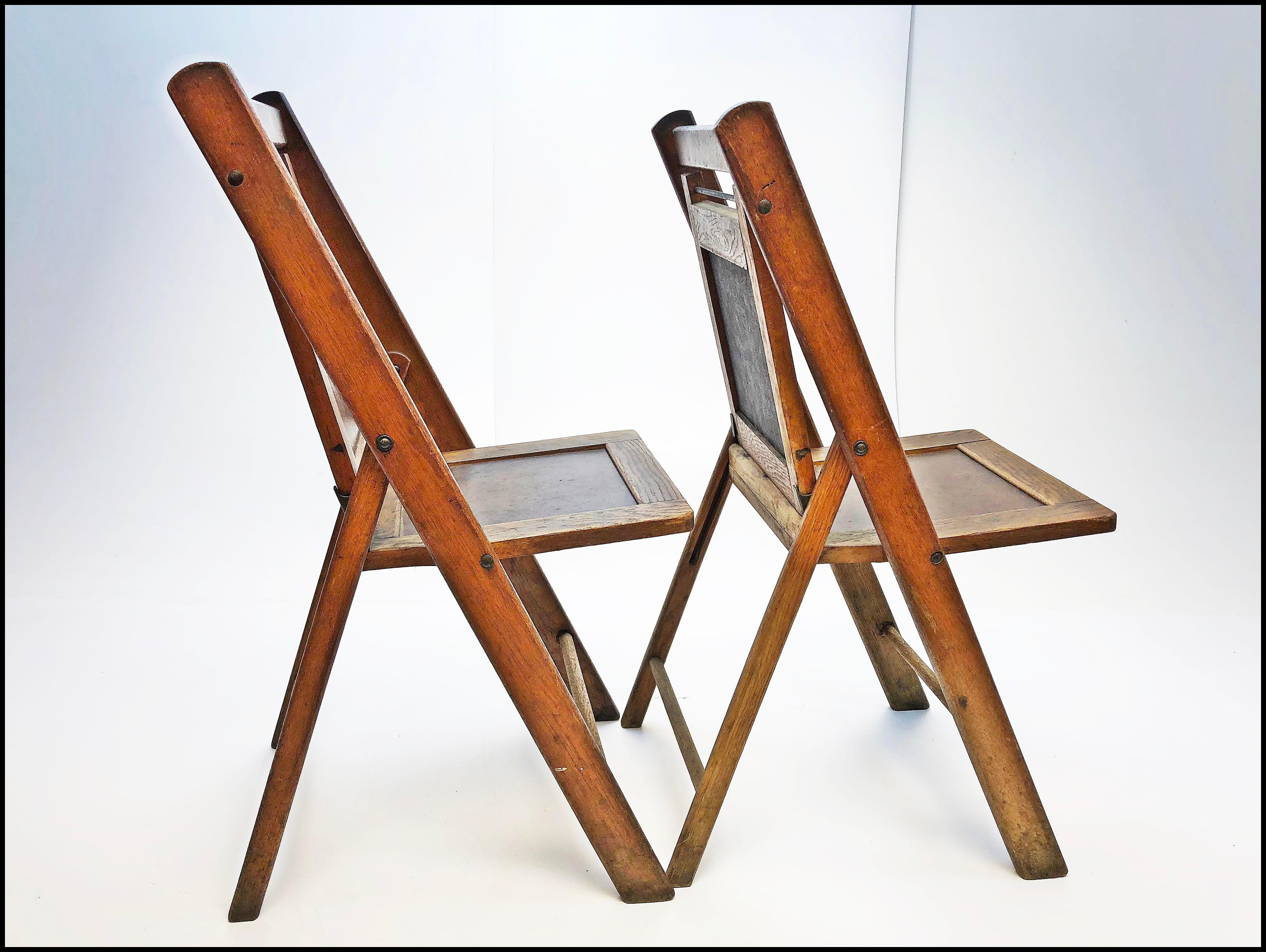 (2) Vintage Wooden Folding Chair Set. Beautiful American Craftsmanship.  Solid Hardwood.