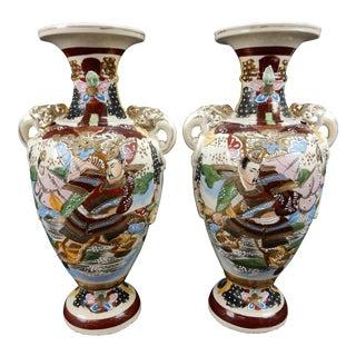 Japanese Satsuma Mirror Imaged Samurai Vases - A Pair