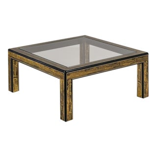 Square Mastercraft Acid Etched Brass and Ebonised Coffee Table For Sale