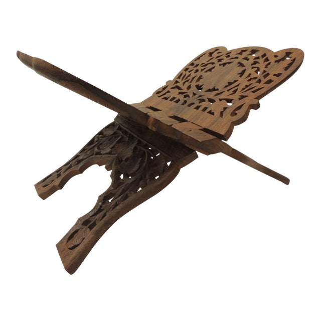 Indian Hand Carved Book Display or Stand For Sale