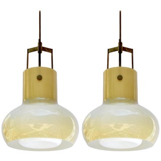Pair of Pear Shape Pendants by Studio Venini, 1950s For Sale