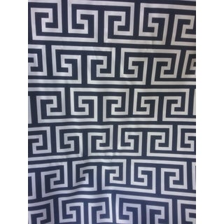 Chinoiserie Jonathan Adler Inspired Ink Blue Navy and White Decorator Fabric For Sale