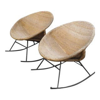 Mid-Century Outdoor Rattan Hoop Rocking Chairs - a Pair