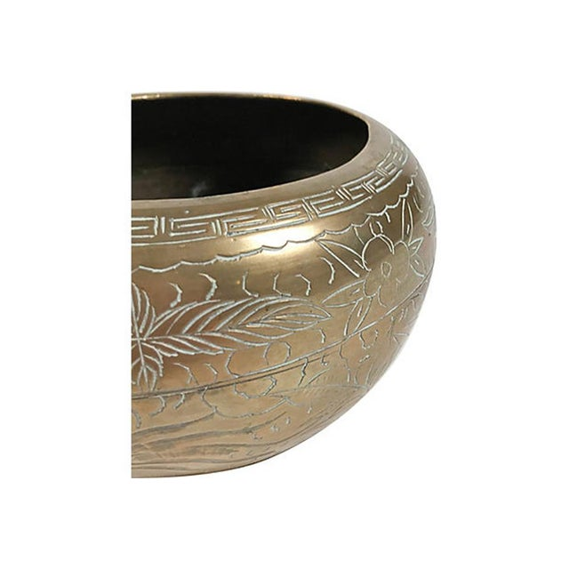 Asian Dragon & Floral Motif Brass Cachepot For Sale - Image 4 of 5
