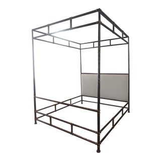 Hollywood Regency Henredon Furniture Jeffrey Bilhuber Hammered Metal Bank St King Canopy Bed For Sale