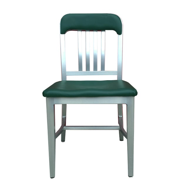 Vintage GoodForm Aluminum Chairs Green Leather For Sale - Image 9 of 9