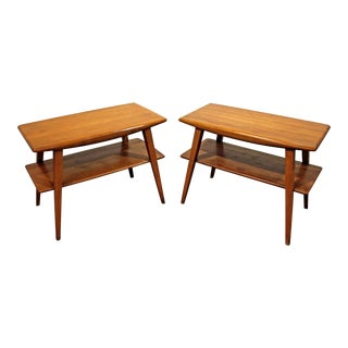 Mid-Century Danish Modern Heywood Wakefield Champagne 2-Tier End Tables - A Pair