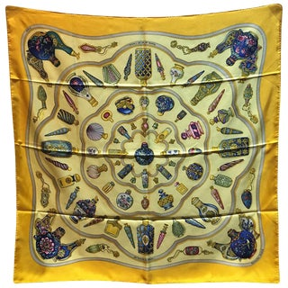 Hermes Vintage Qui' Import Le Flacons Yellow Silk Scarf For Sale