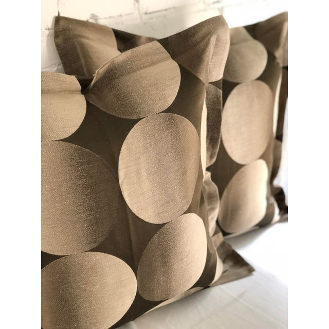 """Pair of 24"""" Brown and Tan Geometric Jim Thompson Pillows For Sale - Image 4 of 9"""