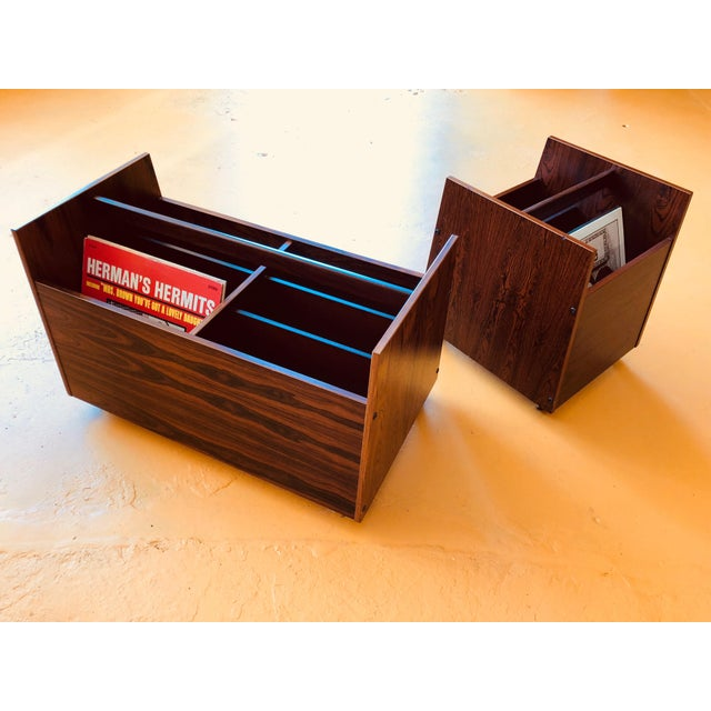 Rosewood Single Rolling MCM Record Album Holder by Rolf Hesland for Bruksbo, Norway For Sale - Image 11 of 13