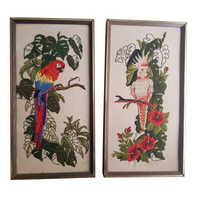 Vintage Crewel Embroidered Bird Artwork - A Pair - Image 1 of 5