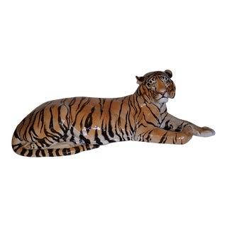Large and Majestic Hollywood Regency Italian Glazed Terra Cotta Resting Tiger Figurine For Sale