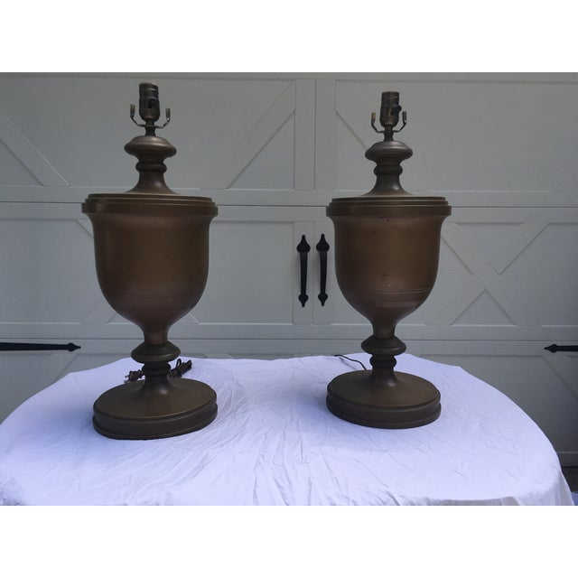 Chapman Brass Urn Lamps, a Pair For Sale - Image 10 of 10
